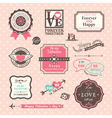 Valentines day elements labels and frames vintage vector