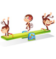 Three playful monkeys playing with the seesaw vector