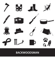 Black backwoodsman icon set eps10 vector