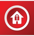 Locked house icon on red vector