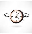 Flying clocks grunge icon vector