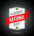 Happy national day badge with ribbon vector