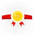 Metal premium round badge on red ribbon isolated vector