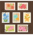 Postage stamps set flower collection vector