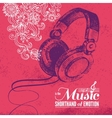 Music background hand drawn and typography design vector