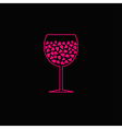 Wine glass with pink hearts inside black backgroun vector