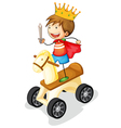 Boy on toy horse vector