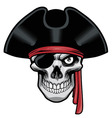 Pirate skull with hat and eye patch vector