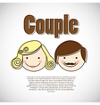 Couple on heart background vector