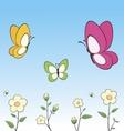Cartoon butterflies and flowers vector
