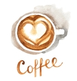 Watercolor coffee cup vector