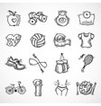 Fitness sketch icons set vector