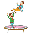 Two men on trampoline vector