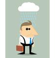 Cartoon businessman in rain under a cloud vector