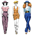 Set fashion top models in trouser suits and vector