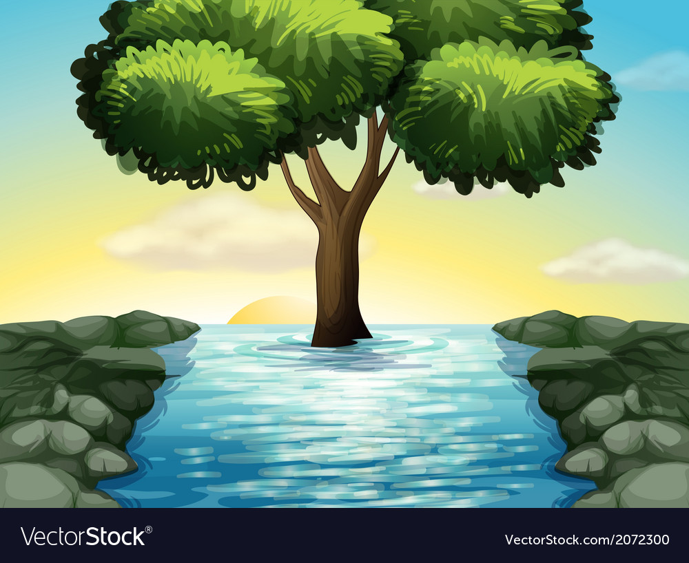 A big tree in the middle of the river vector | Price: 1 Credit (USD $1)