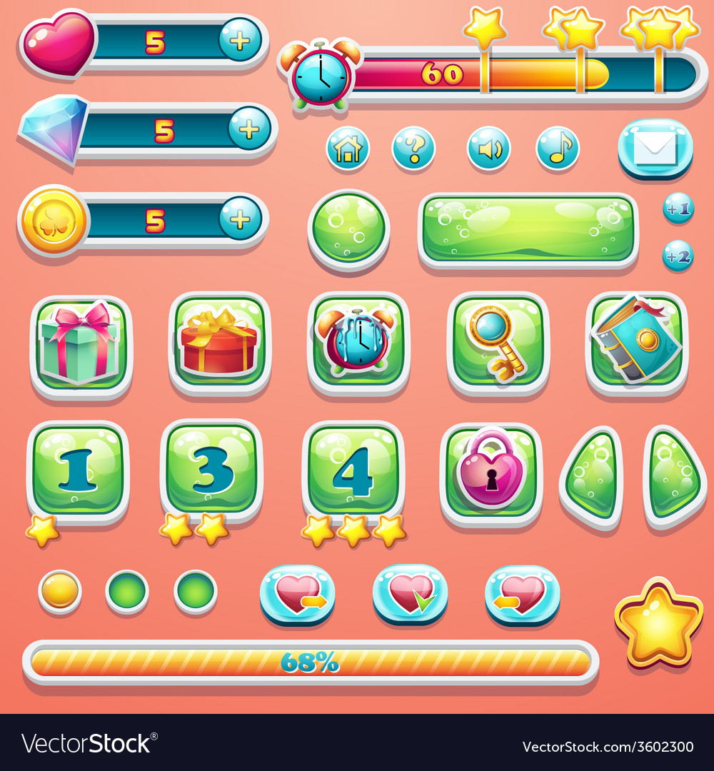 A large set of progress bars buttons boosters vector | Price: 3 Credit (USD $3)