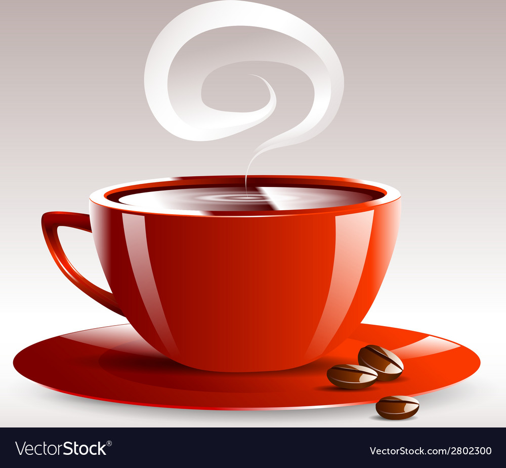 A red cup of hot coffee grain pairs vector | Price: 1 Credit (USD $1)