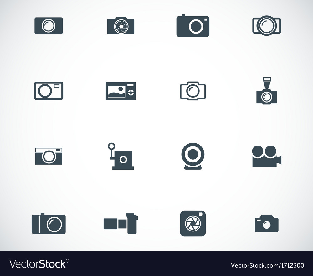 Black camera icons set vector | Price: 1 Credit (USD $1)