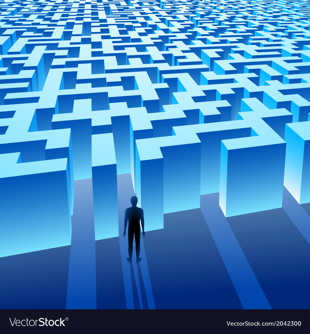 Blue maze labyrinth and the man vector | Price: 1 Credit (USD $1)