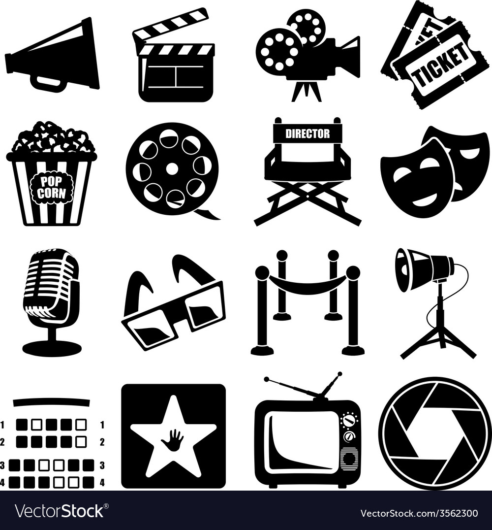 Cinema icon set vector | Price: 1 Credit (USD $1)