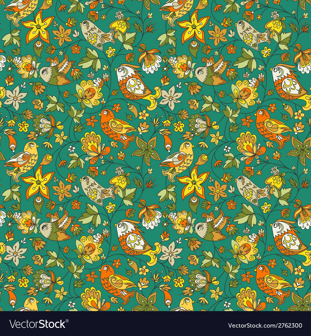 Flowers and birds seamless texture pattern vector   Price: 1 Credit (USD $1)