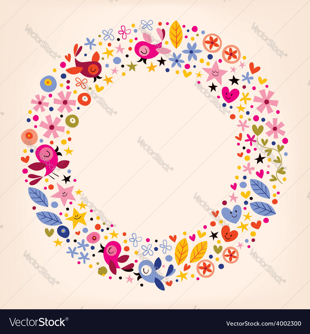 Flowers hearts birds love nature circle retro vector | Price: 1 Credit (USD $1)