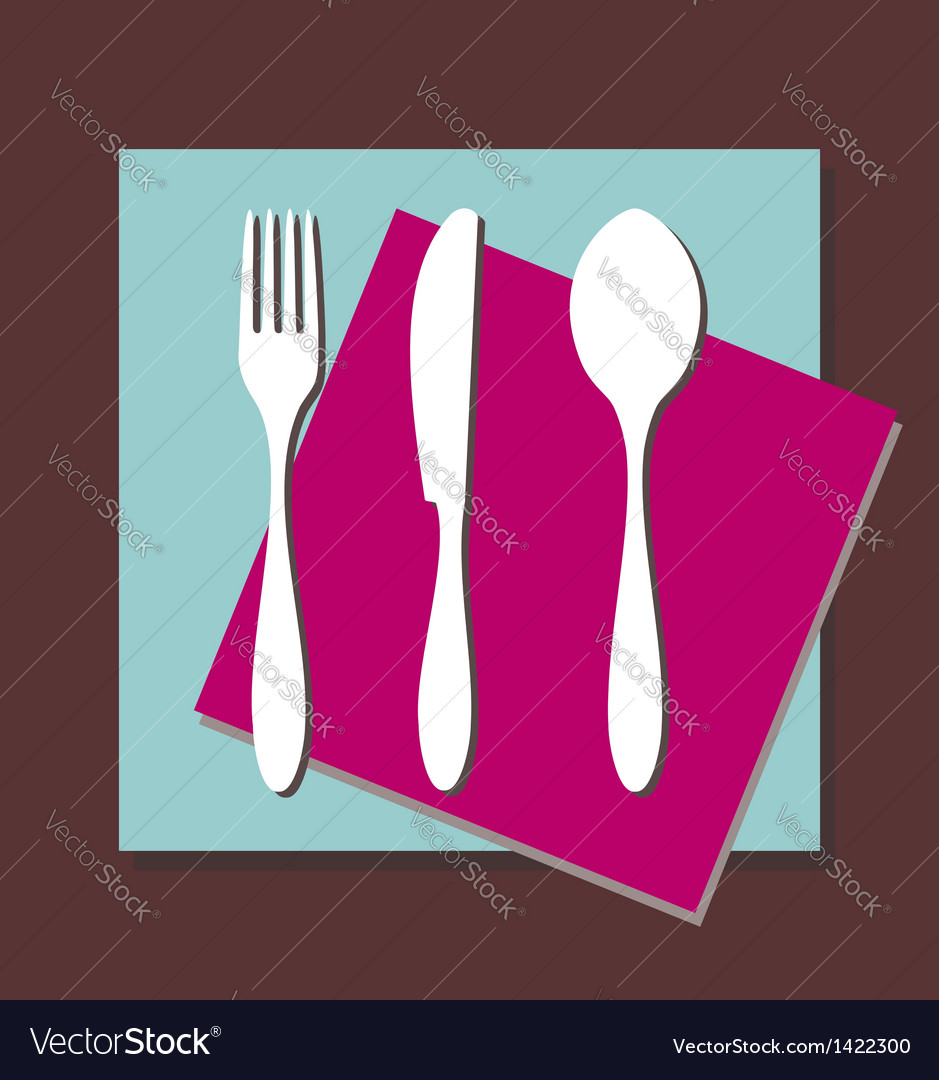 Fork knife spoon tablecloth vector | Price: 1 Credit (USD $1)
