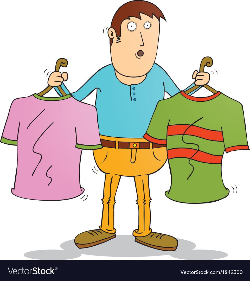 Man choosing clothers vector | Price: 1 Credit (USD $1)