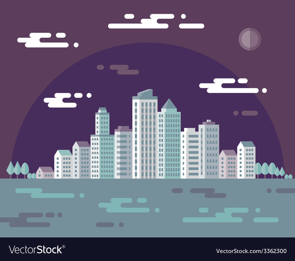 Night cityscape - flat vector | Price: 1 Credit (USD $1)