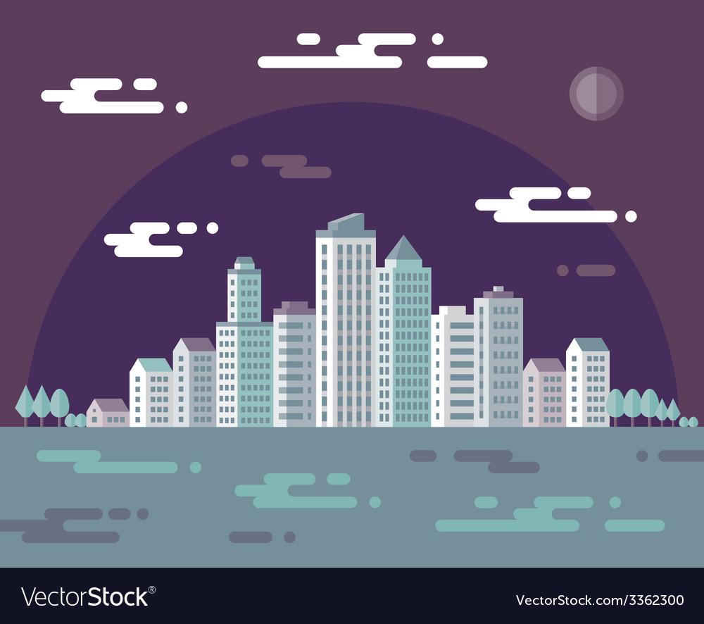 Night cityscape - flat vector   Price: 1 Credit (USD $1)