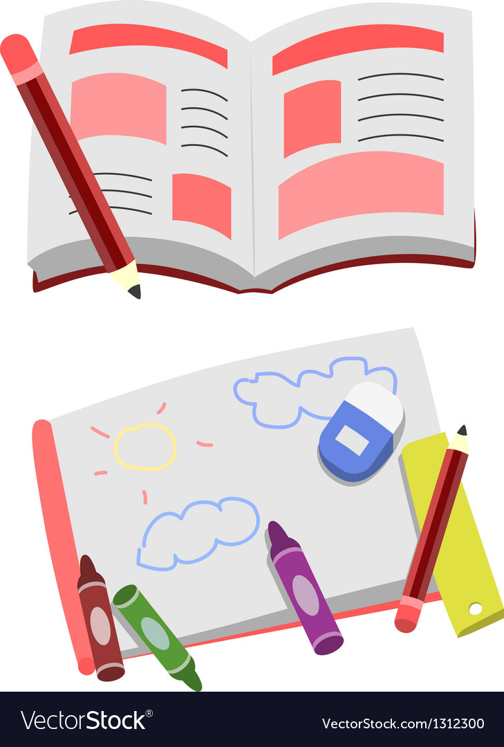 Opened book cartoon clip art vector | Price: 3 Credit (USD $3)