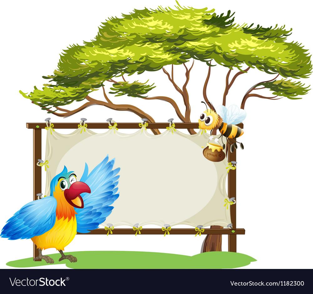 Parrot honey bee signboard vector   Price: 1 Credit (USD $1)