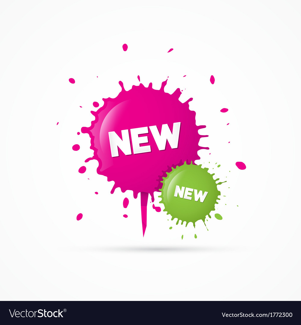 Pink and green stickers - stains with new title vector | Price: 1 Credit (USD $1)