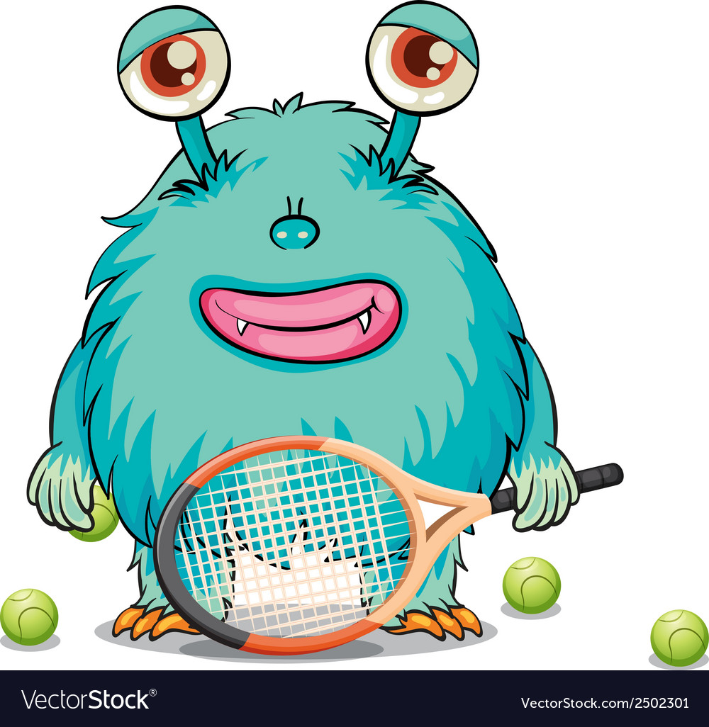 A monster playing tennis vector | Price: 1 Credit (USD $1)