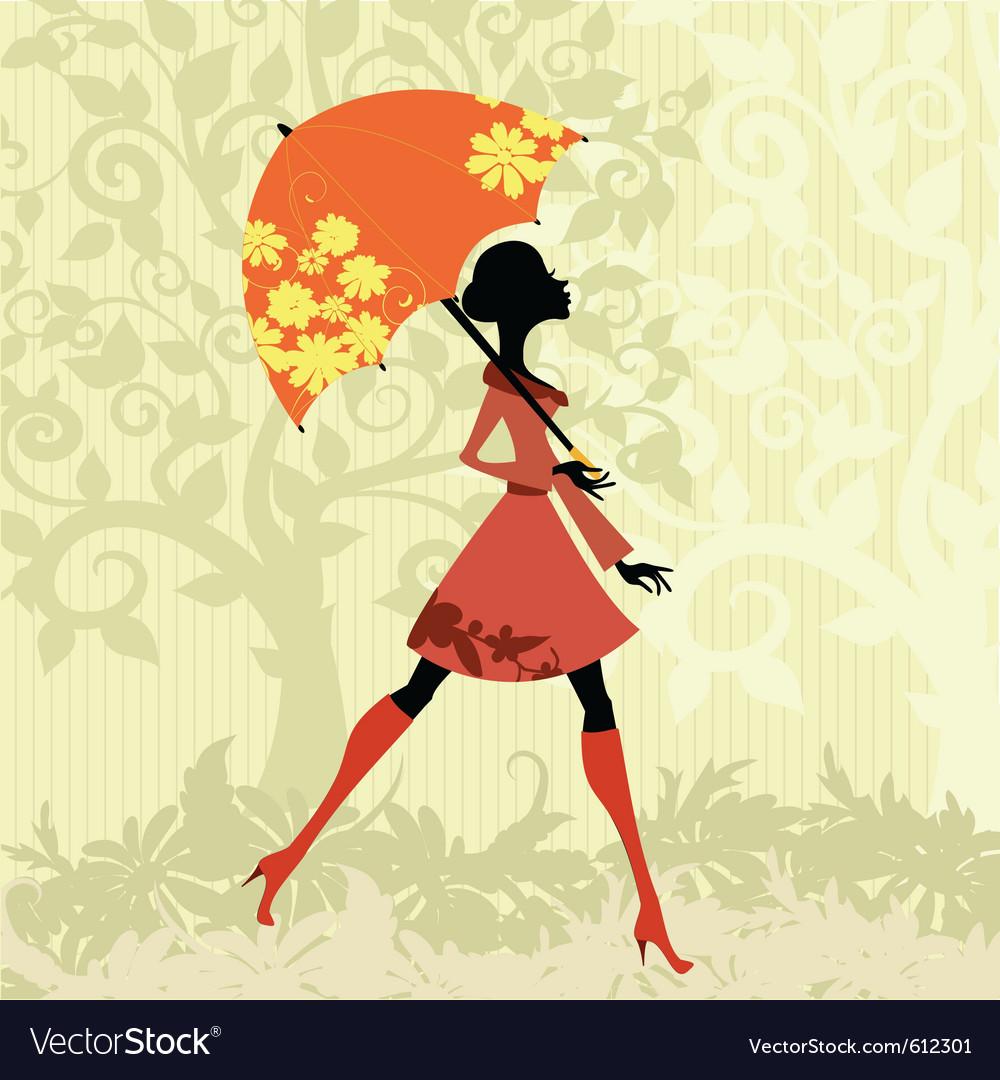 Beautiful woman with umbrella vector | Price: 1 Credit (USD $1)