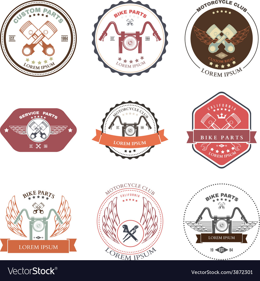 Bikers repair service emblems collection vector   Price: 1 Credit (USD $1)