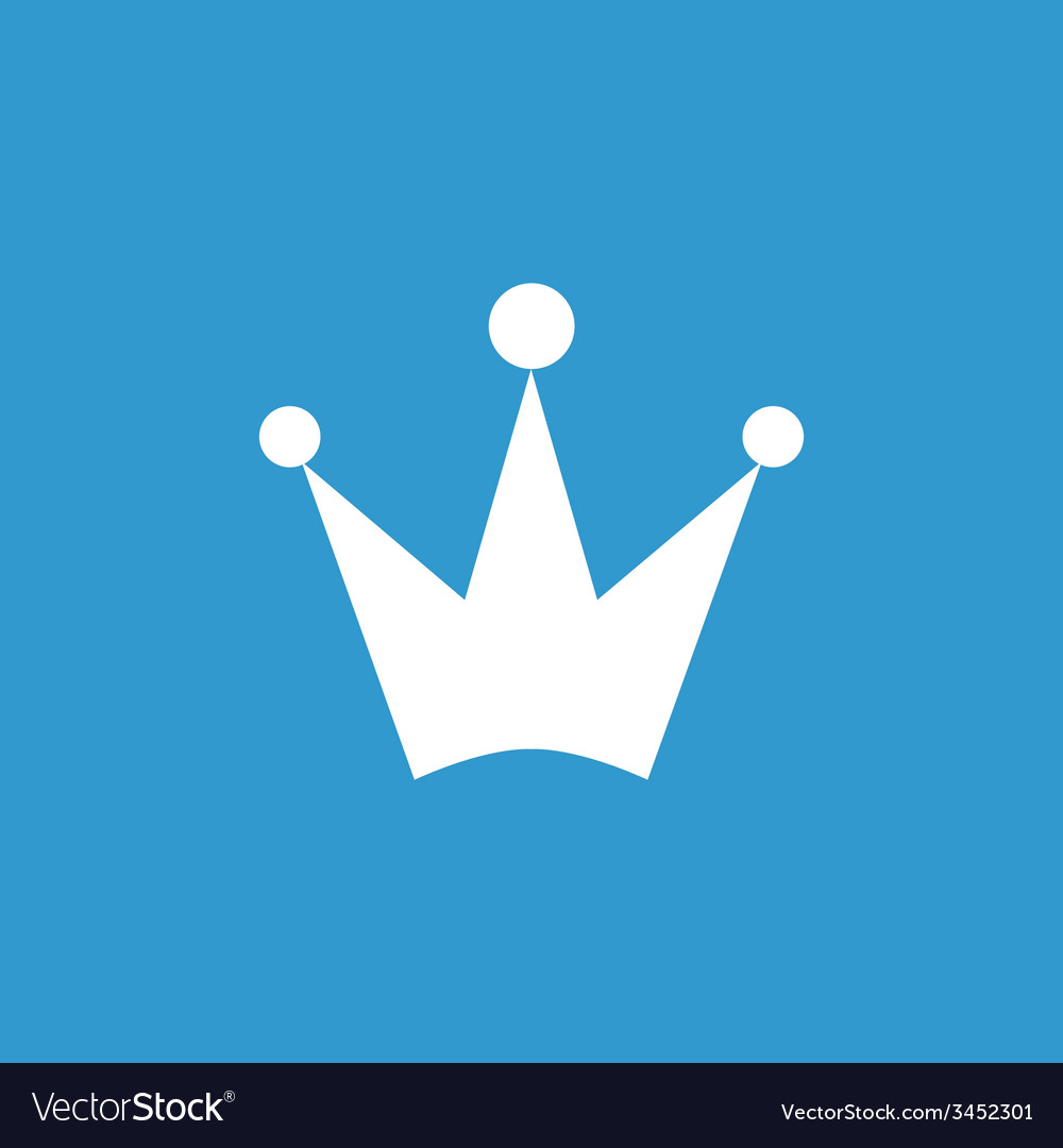 Crown icon white on the blue background vector | Price: 1 Credit (USD $1)