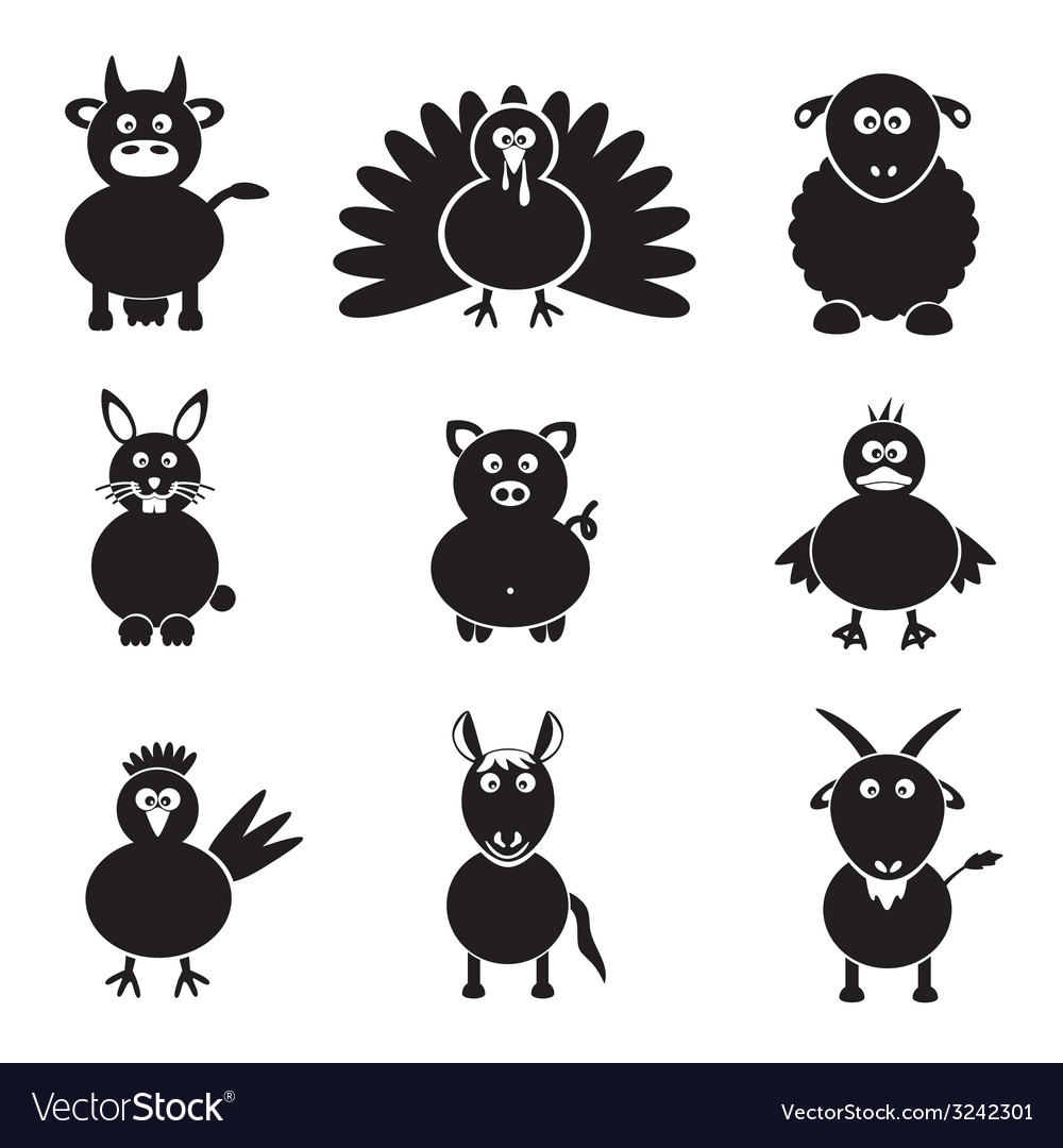 Farm animals simple icons set eps10 vector | Price: 1 Credit (USD $1)