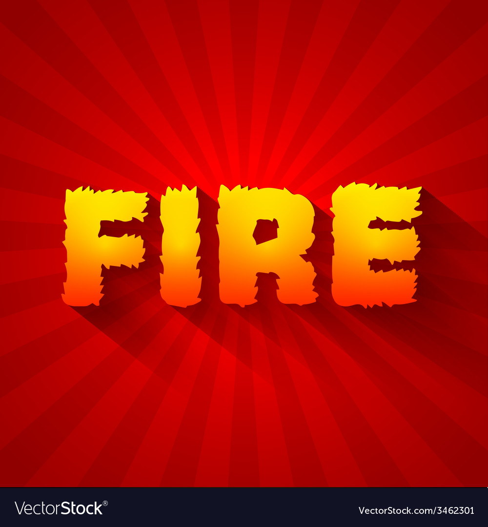 Fire text on a red background concept design vector | Price: 1 Credit (USD $1)