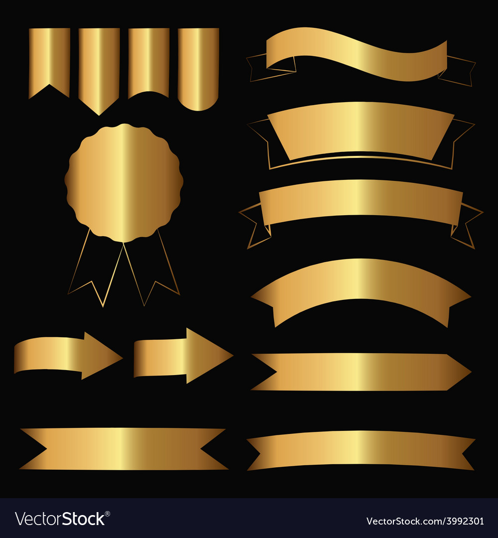 Gold contour icons vector | Price: 1 Credit (USD $1)