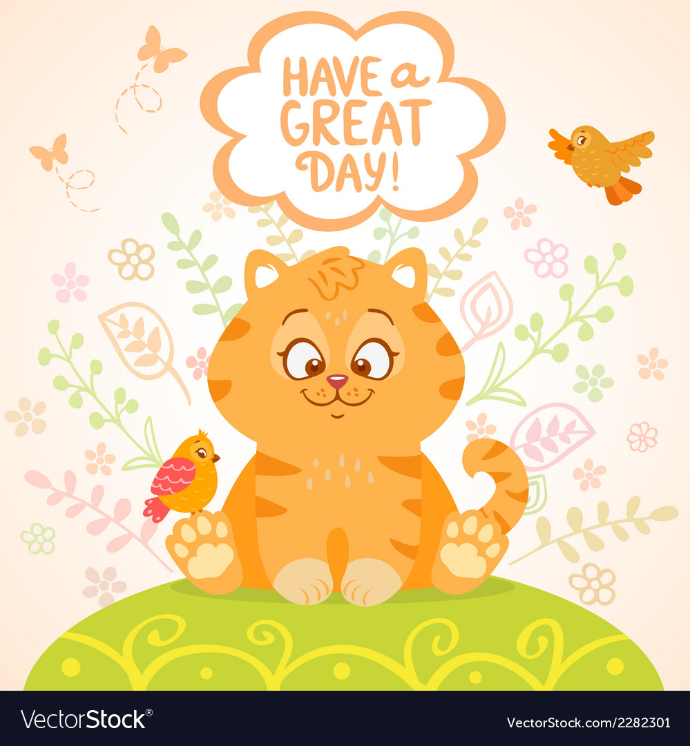 Kitten and birds vector | Price: 1 Credit (USD $1)
