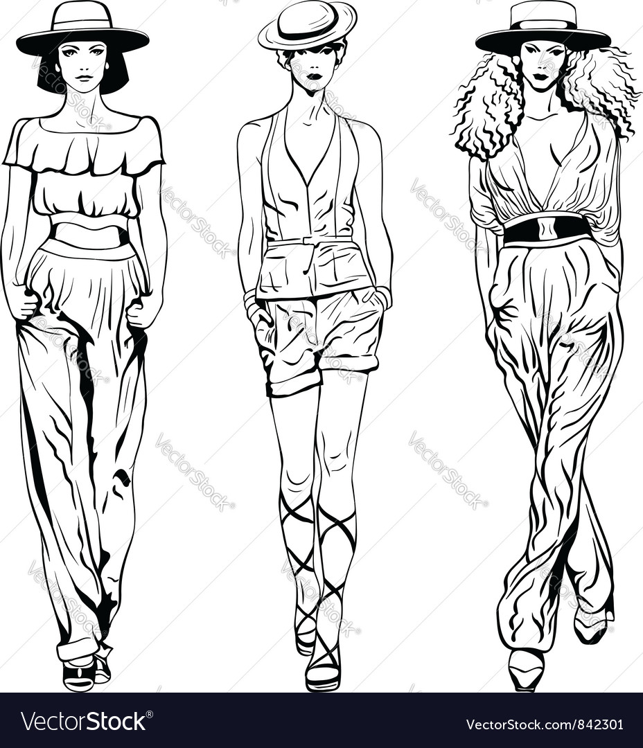 Set fashion top models in trouser suits vector | Price: 1 Credit (USD $1)