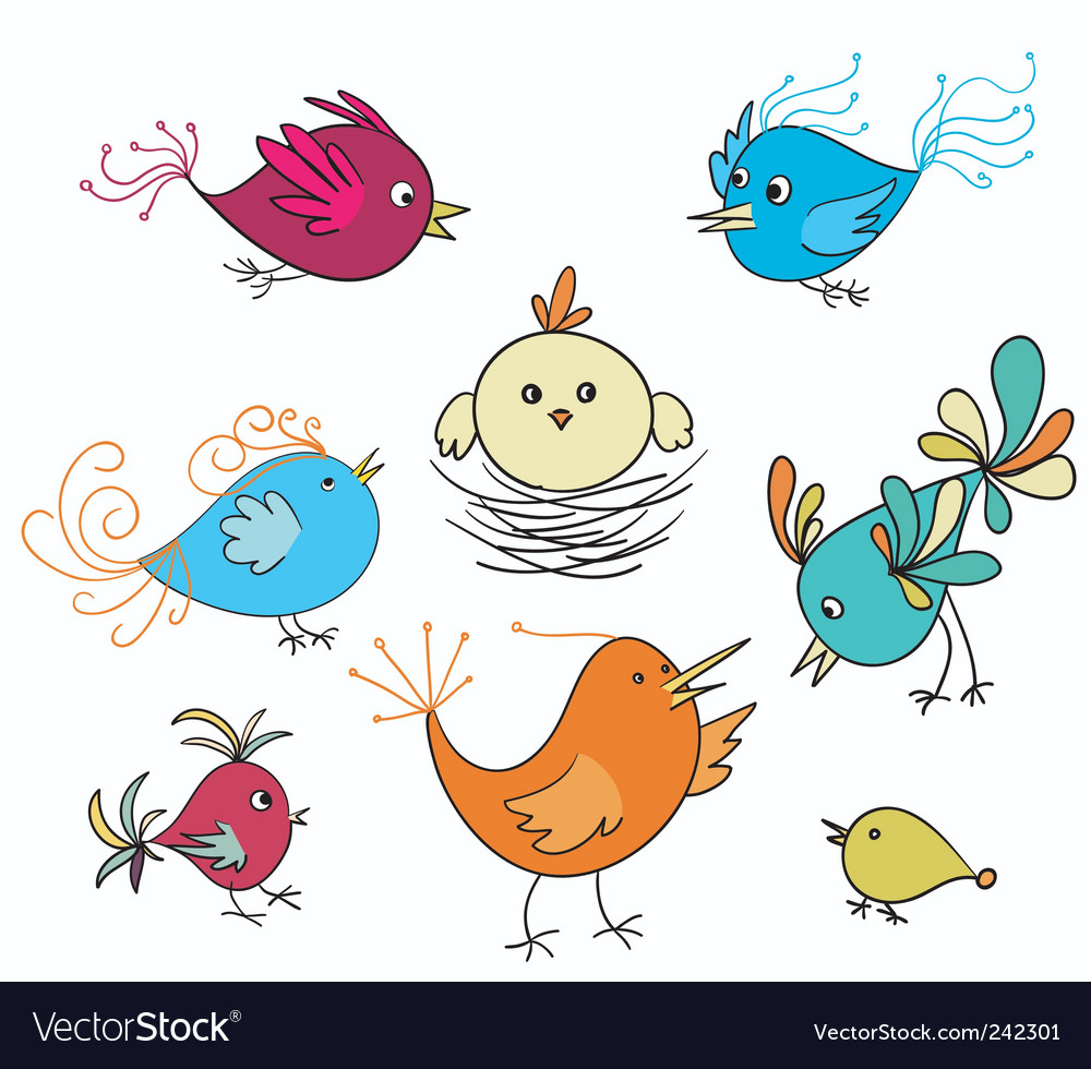 Set of cute birds vector   Price: 1 Credit (USD $1)