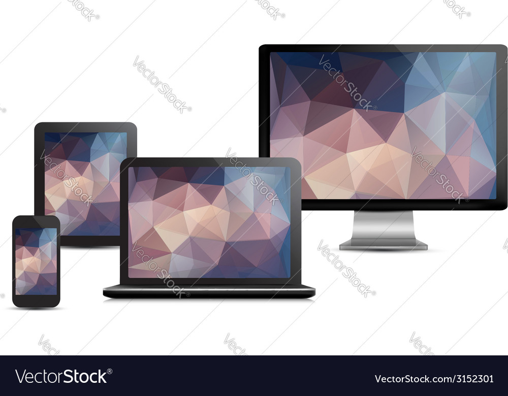 Set of realistic display laptop tablet computer vector | Price: 1 Credit (USD $1)
