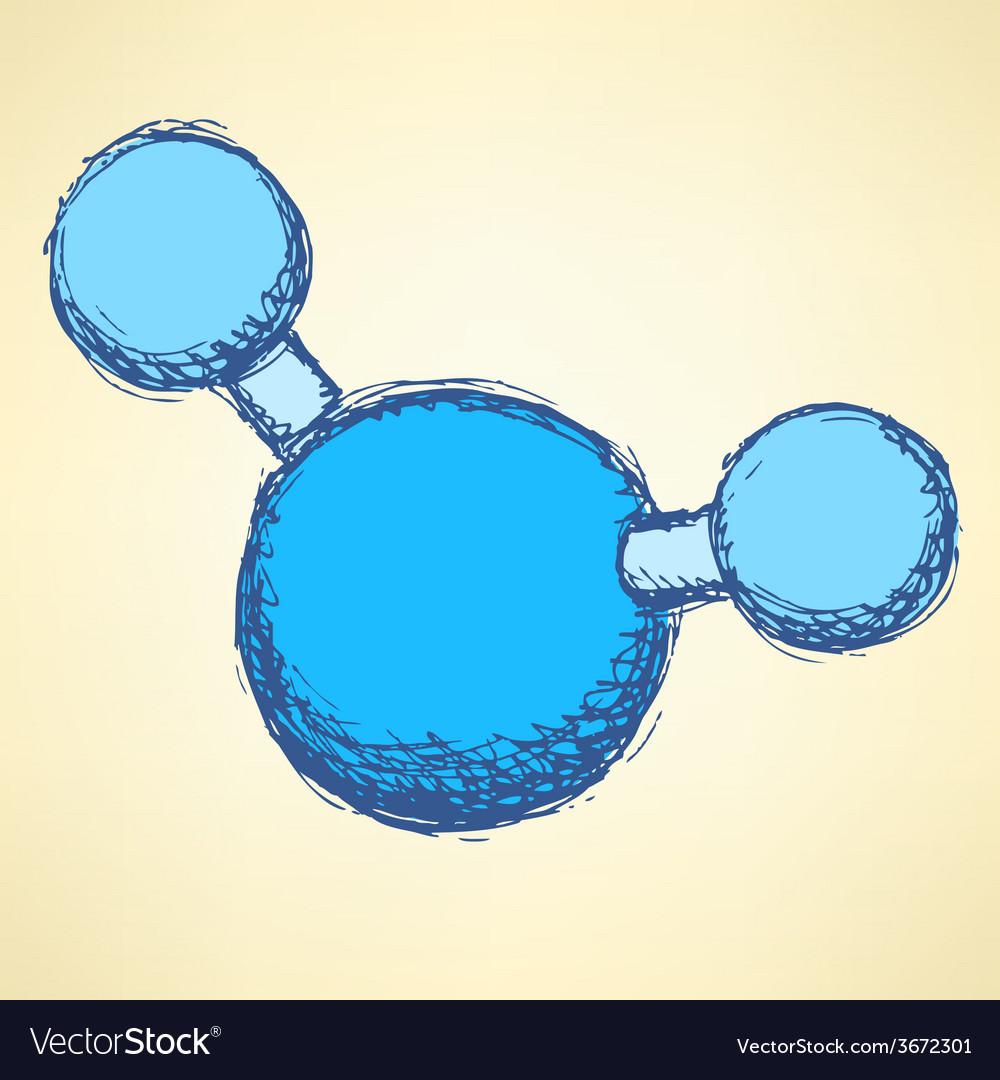 Sketch water molecule in vintage style vector | Price: 1 Credit (USD $1)