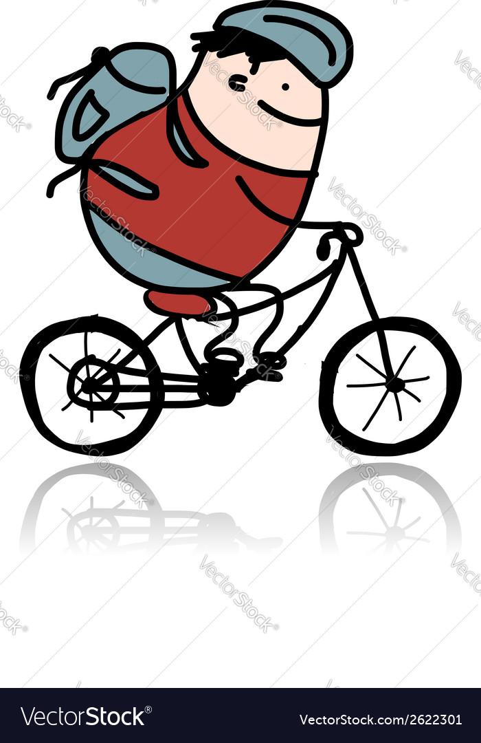 Tourist rides a bike cartoon for your design vector | Price: 1 Credit (USD $1)
