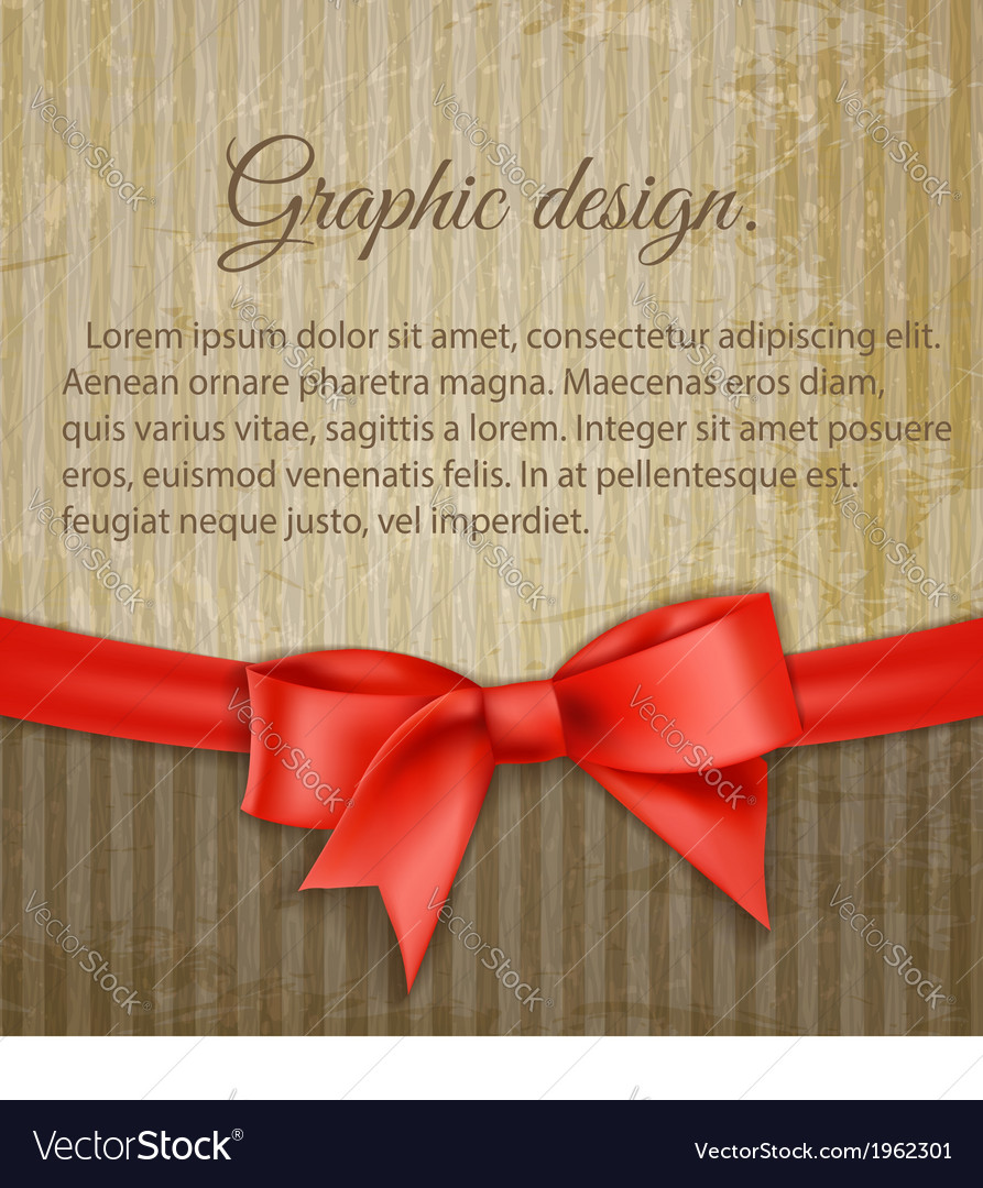 Vintage grungy background with red bow vector | Price: 1 Credit (USD $1)