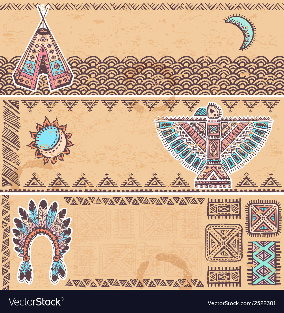 Vintage set of native american banners vector | Price: 1 Credit (USD $1)