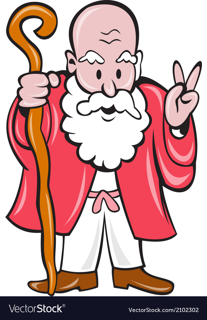 Bearded old man staff peace sign cartoon vector | Price: 1 Credit (USD $1)
